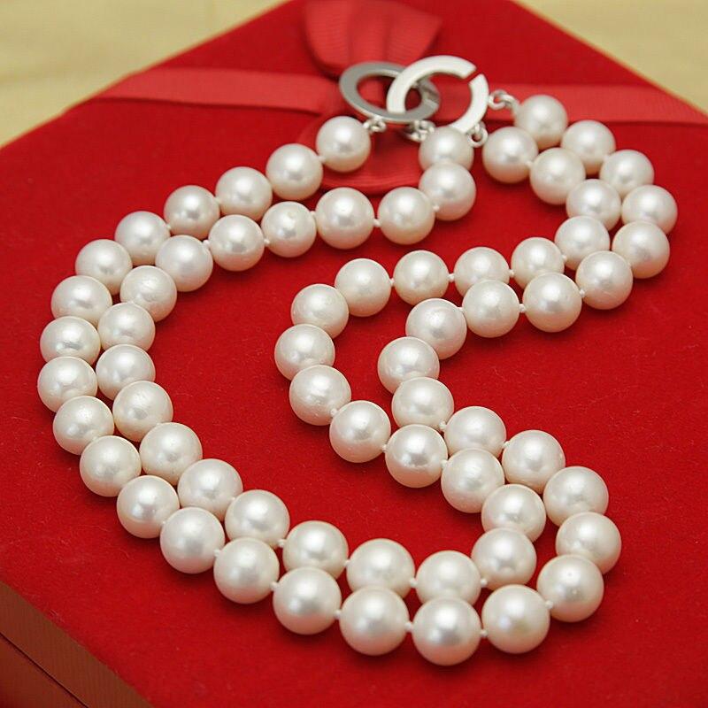 "> S294 2015 moda 2 filas 11-12mm collar de perlas cultivadas de agua dulce blanca 17 ""-18"""
