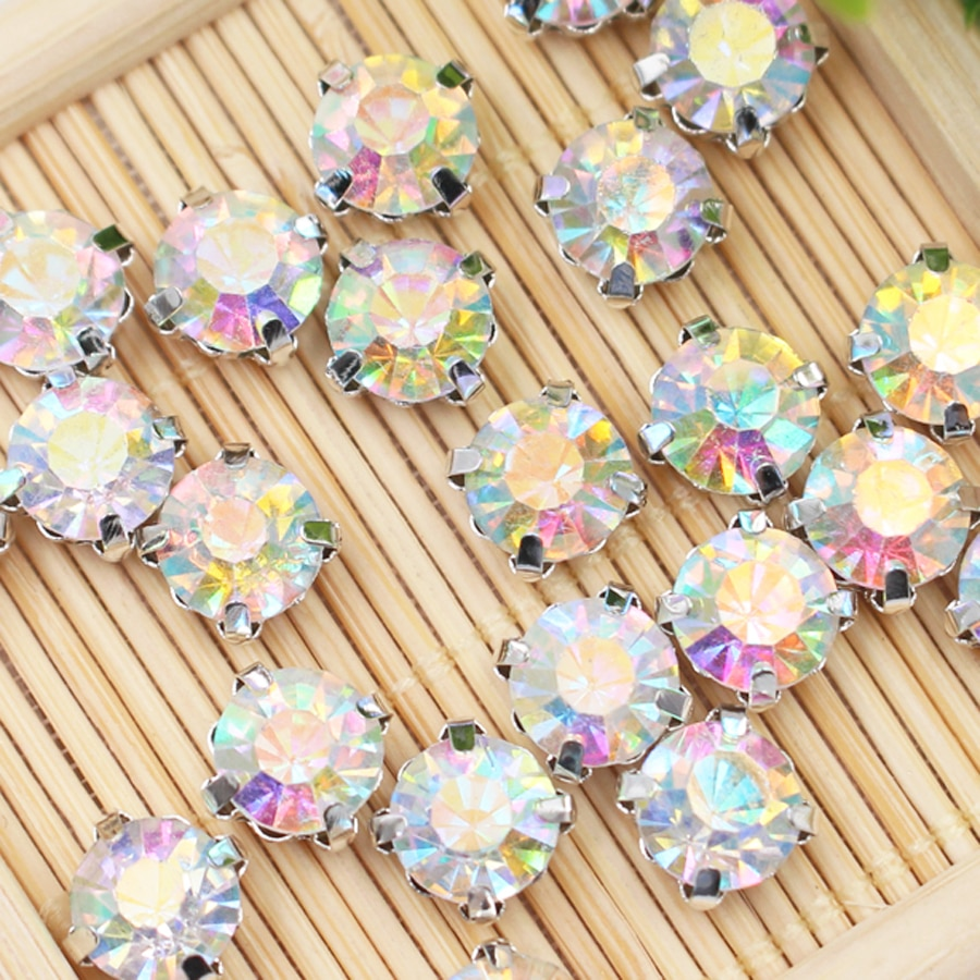 Factory direct wholesale 3mm 4mm 5mm 6mm 7mm 8mm Sew on Crystal AB Glass crystal rhinestone beads Silver claw garment diy trim ab 1769 l32e factory sealed