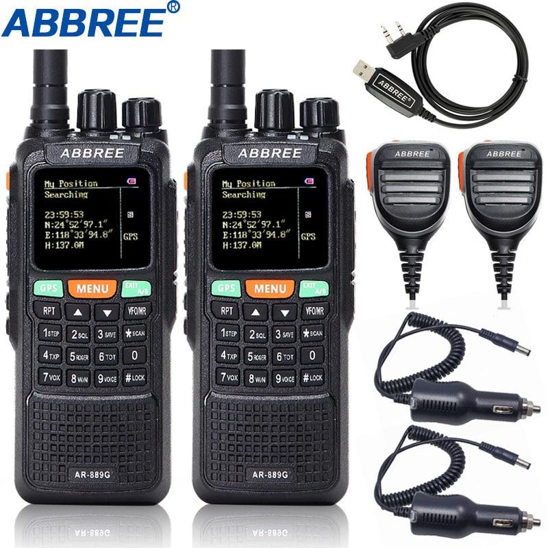 2 PCS Abbree AR-889G Walkie Talkie 10 W GPS SOS Nacht Hintergrundbeleuchtung Duplex kreuz band Repeater Dual Band Tragbare telsiz schinken CB Radio