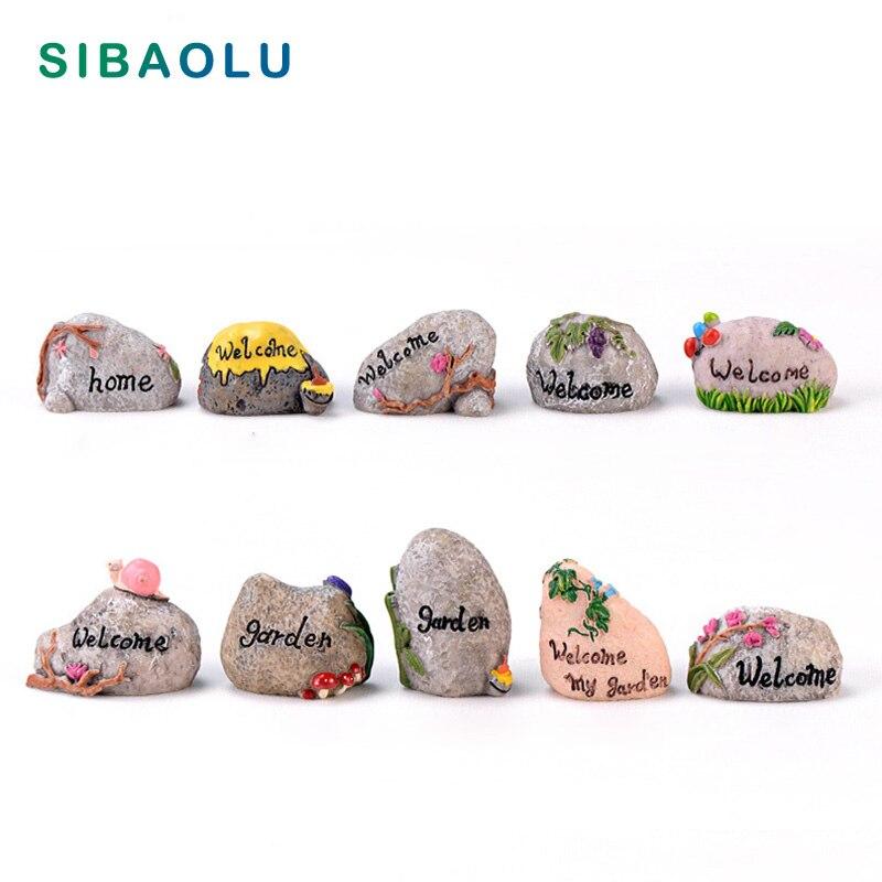 Signo de Camino de piedras de jardín con bienvenida de flores, figurilla de Hada, artesanía de resina Artificial para jardín, decoración en miniatura para hogar, accesorios DIY