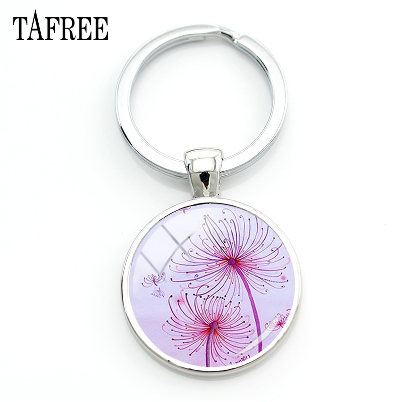 TAFREE Brand Beautiful Dandelion Keychains Personalized Keyring Keyholder Car Key Art Picture Men Women Girls Gift Jewelry DA22
