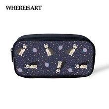 WHEREISART Space Siberian Husky Print Pencil Box Pencilcase For Kids Boys Girls Cute Animals Zipper Cosmetic Bag Toiletries