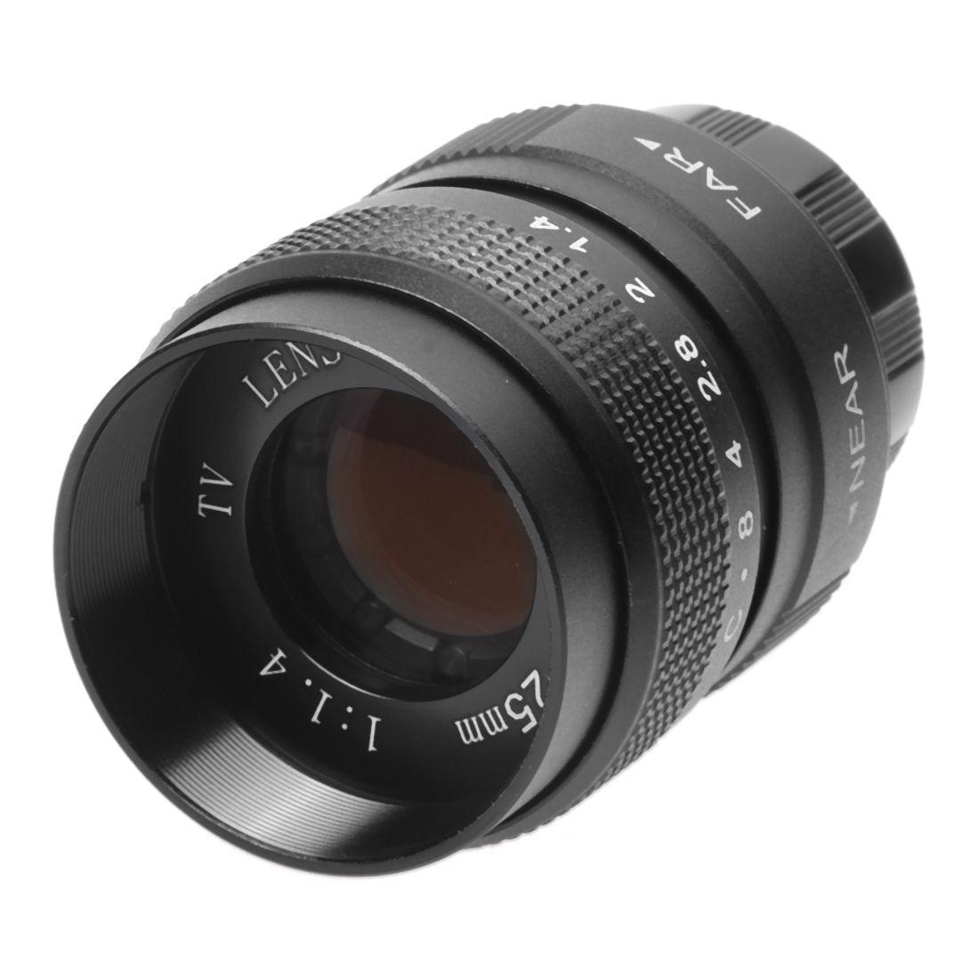 Lente da tevê 25mm f/1.4 na lente da c-montagem para a tevê/câmeras do filme do cctv lente da televisão para a câmera 25mm f1.4 da montagem de c no preto