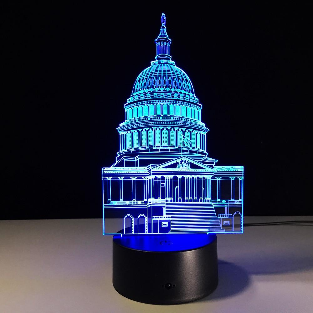 Creativo modelo de Casa Blanca lámpara de mesa 3D Interruptor táctil Visual 3D Luz de noche para decoración del hogar iluminación regalo de Navidad