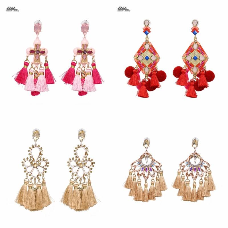 Pendientes JUJIA multicolor de cristal Vintage para mujer, joyería de declaración, borla de perla simulada, pendientes étnicos al por mayor