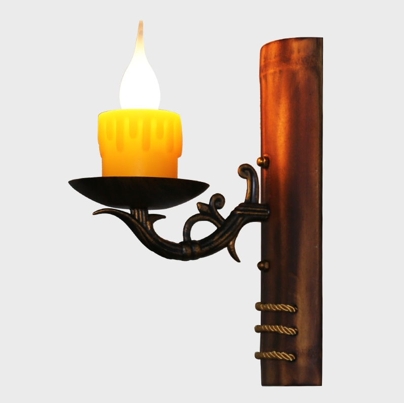 Lámparas de pared de arte del hierro arcaítico del Mar Mediterráneo, lámpara nostálgica de resina con sombra de bambú E14 para escaleras, café, porche y pasillo LDK035