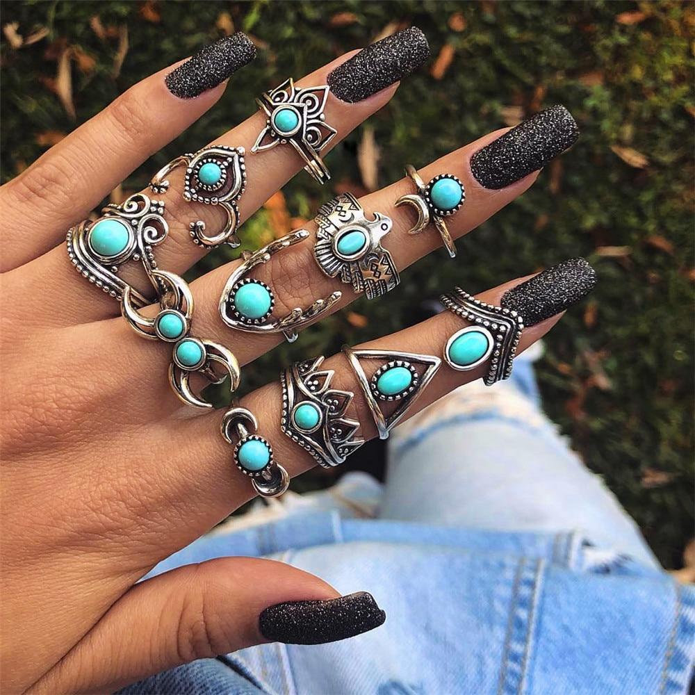 11 unids/set Punk Hollow Eagle Fátima Luna corona gema plata Junta anillo conjunto mujeres personalidad fiesta cumpleaños joyería de moda