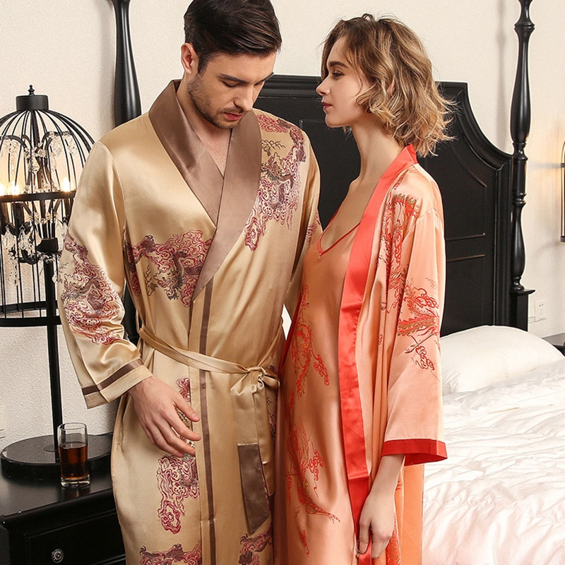 22 Mumi Heavy Real Silk Nightgowns Female Sling Nightdress Couple Sleeping Robes High Quality 100% Silk Bathrobes Male S5614QL