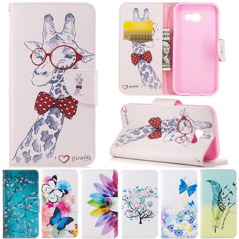 Кожаный чехол-книжка С Рисунком бабочки жирафа цветка, чехлы для телефонов Samsung Galaxy A3 A5 2017 A320 A520 SM-A320F SM-A520F