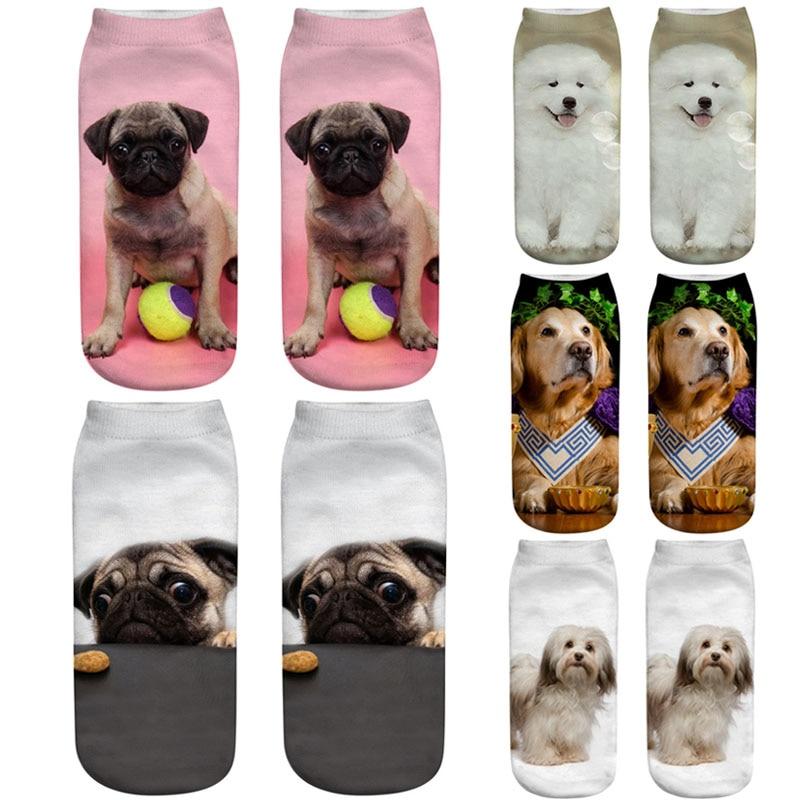 1 par de calcetines de algodón y poliéster con estampado 3D de perros adorables de dreamlike Lin