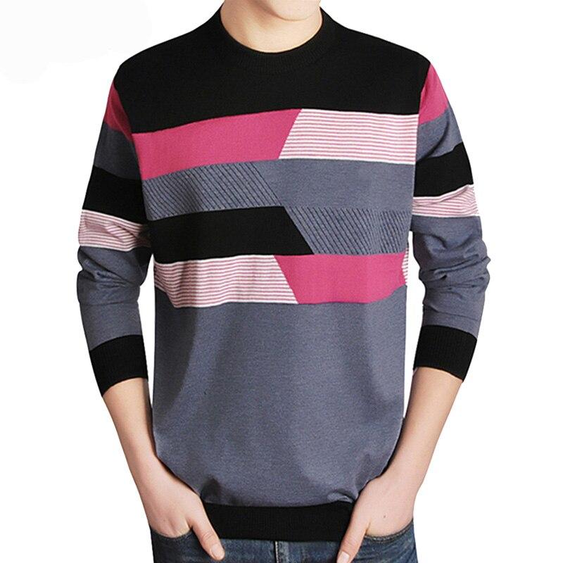 Envío de la gota hombres suéter casual de marca o-Cuello ropa de jersey de lana para hombre manga larga descuento patchwork top coat