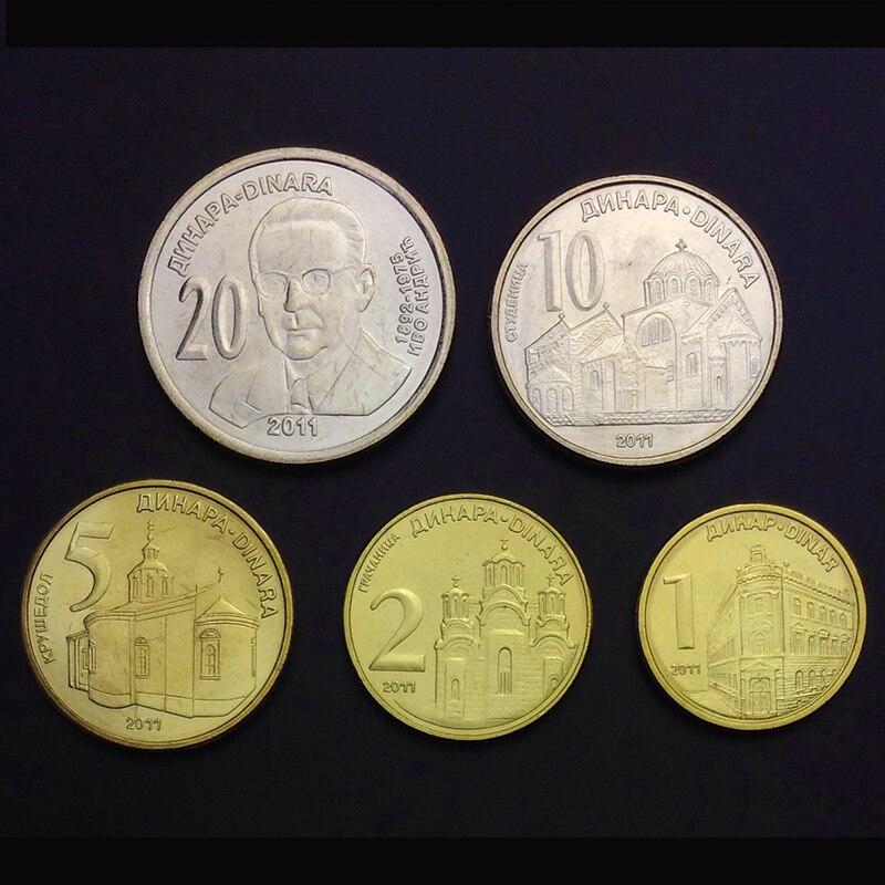 Serbia 5 unids/set UNC moneda original