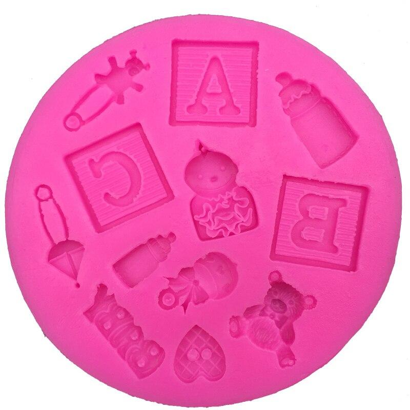 Molde de silicona fondant con forma de oso para bebé, molde de cocina para hornear chocolate, pastelería, arcilla, hacer cupcakes, herramientas de decoración FT-0139