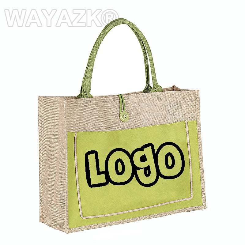100pcs/lot personlized jute shopping bag with your logo design printed