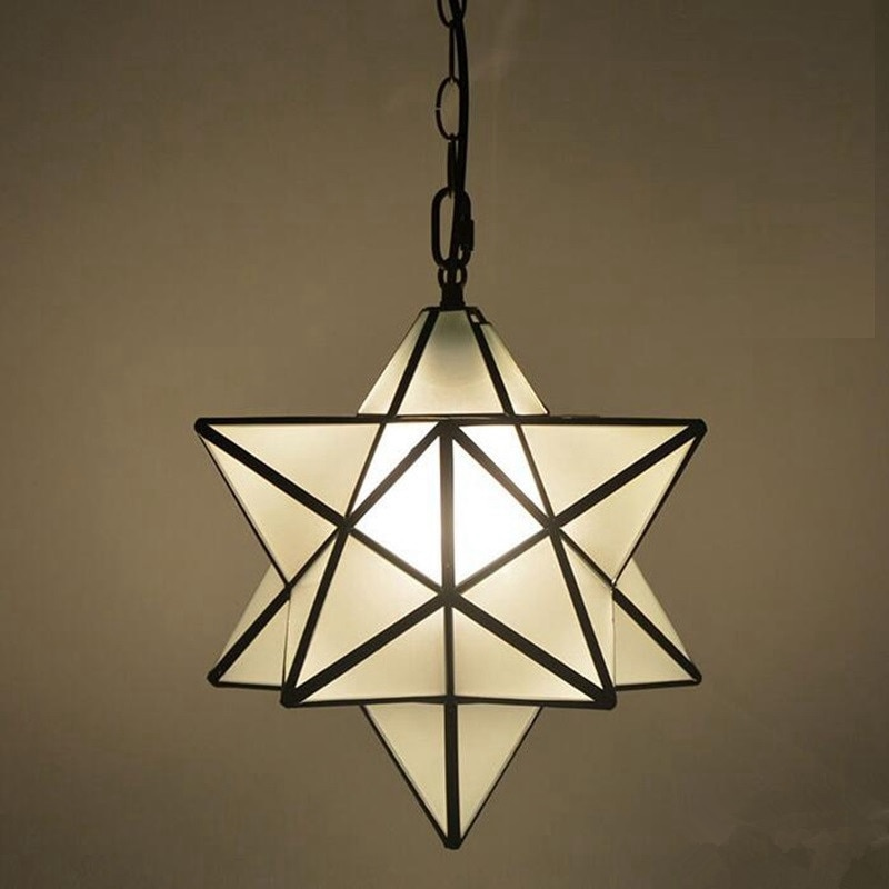 Loft Vintage Pendant Lamp Light, Shooting Star Tiffany Glass Lighting Ceiling for Home Aisle Corridor Porch Shop Bar Loft  Cafe