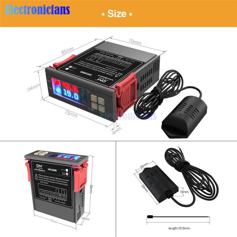 SHT2000 AC 110V 85-230V 10A תרמוסטט טמפרטורת בקרת לחות מדחום מדדי לחות Humidista בקר תצוגה דיגיטלית