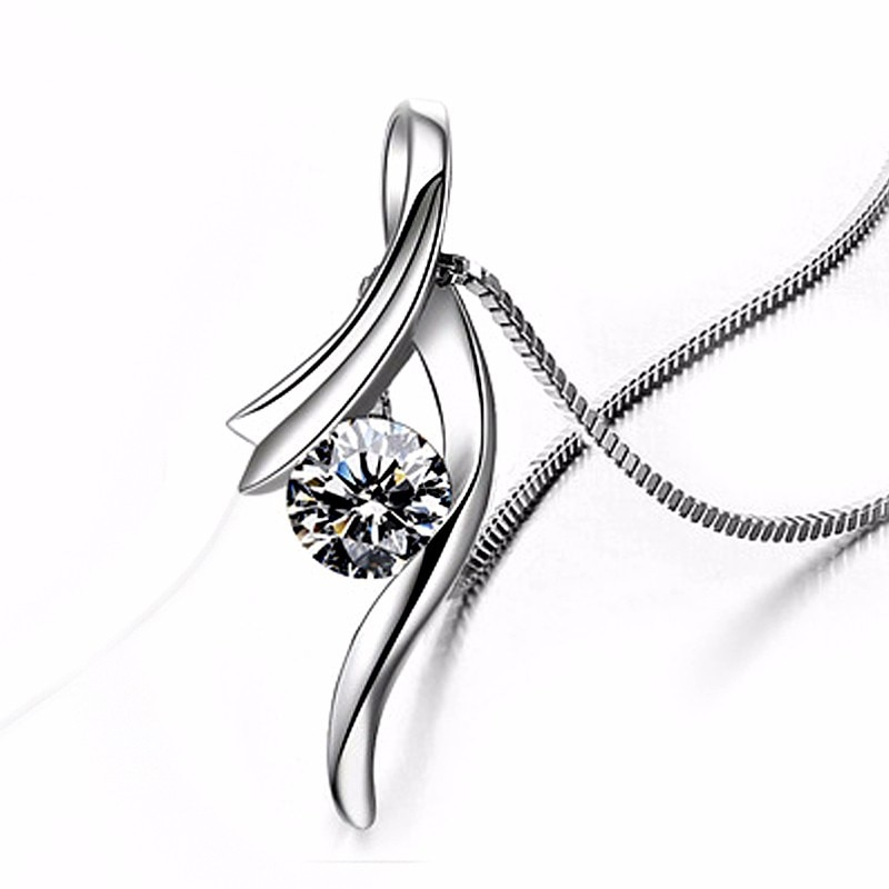 Fashion Women Luxury Austrian Crystal Pendant 925 Sterling Silver Necklace Accessory Wedding Engagement Jewelry