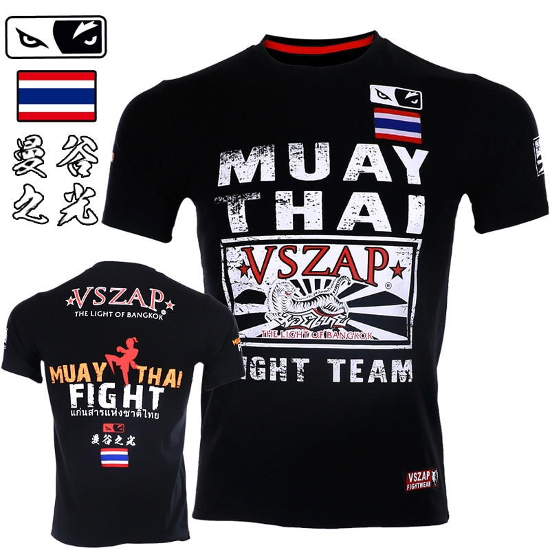 VSZAP Boxing MMA T Shirt Gym Tee Fighting Martial Arts Fitness Bangkok Training Men