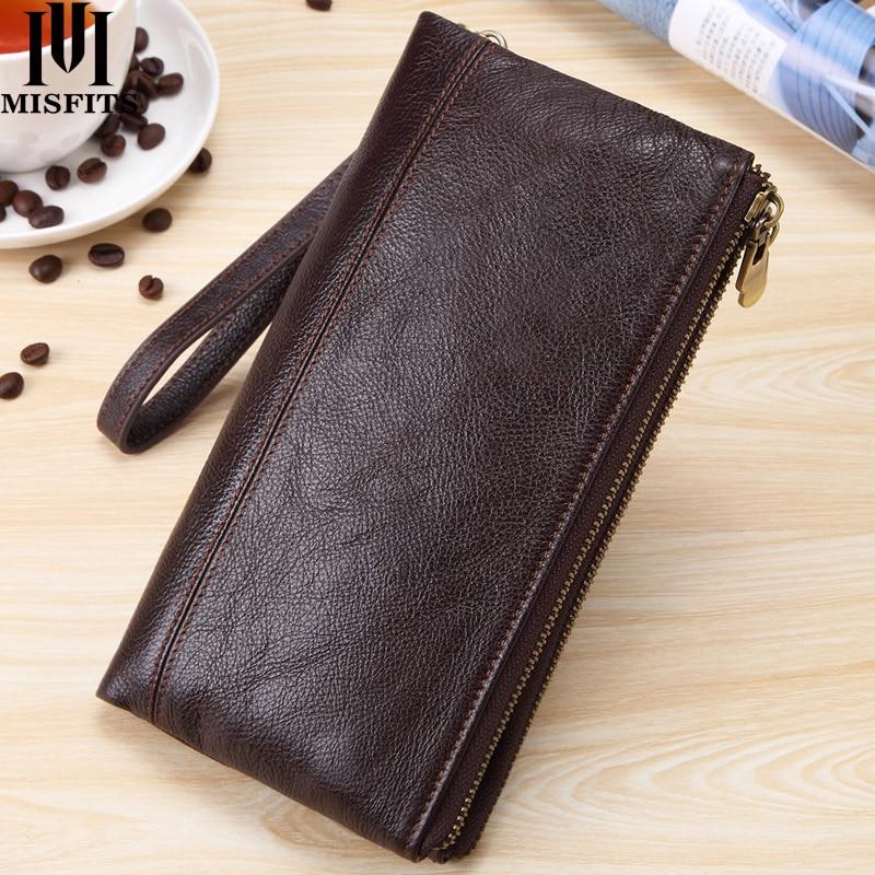 MISFITS Men clutch wallet genuine leather wallets for cell phone zipper clutch bag male cow leather long purse travel Portomonee недорого