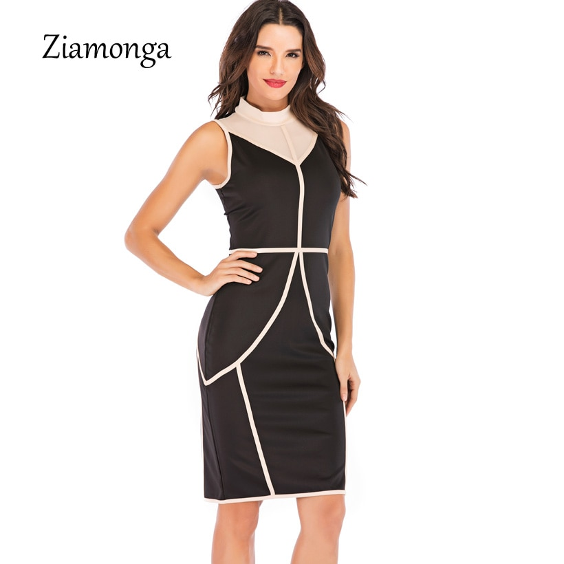 Ziamonga Malha Patchwork Listrado Optical Illusion Magro Vestir Para Trabalhar Lápis Equipada Vestido Breve Casual Mulheres Sexy Vestido Primavera 2019