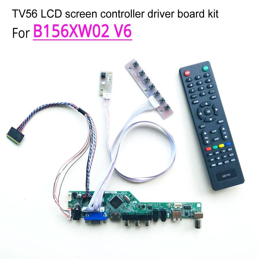 """Для B156XW02 V6 ноутбук ЖК-экран 40-контактный WLED LVDS 1366*768 60 Гц 15,6 """"HDMI/VGA/AV/Аудио/RF/USB контроллер драйвер платы комплект"""