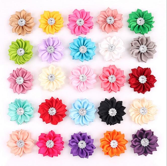 50 unids/lote Flor de satén sin Clip Flor de tela con diamantes de imitación para niños niñas diademas apliques accesorios de prendas de vestir de A290