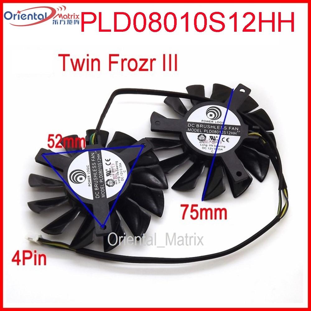 Бесплатная доставка 2 шт./лот PLD08010S12HH DC 12 В 0,35 а 75 мм двойные вентиляторы Замена видеокарты вентилятор MSI Twin Frozr III 4Pin