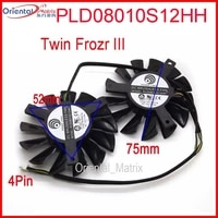 free shipping 2pcslot pld08010s12hh dc 12v 0 35a 75mm dual fans replacement video card fan msi twin frozr iii 4pin