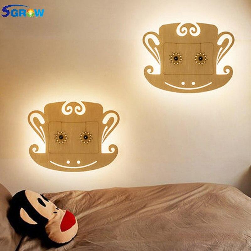 SGROW creativo mono de madera lámpara de pared niños historieta encantadora luces para dormitorio comedor pasillo escalera pared luz LED