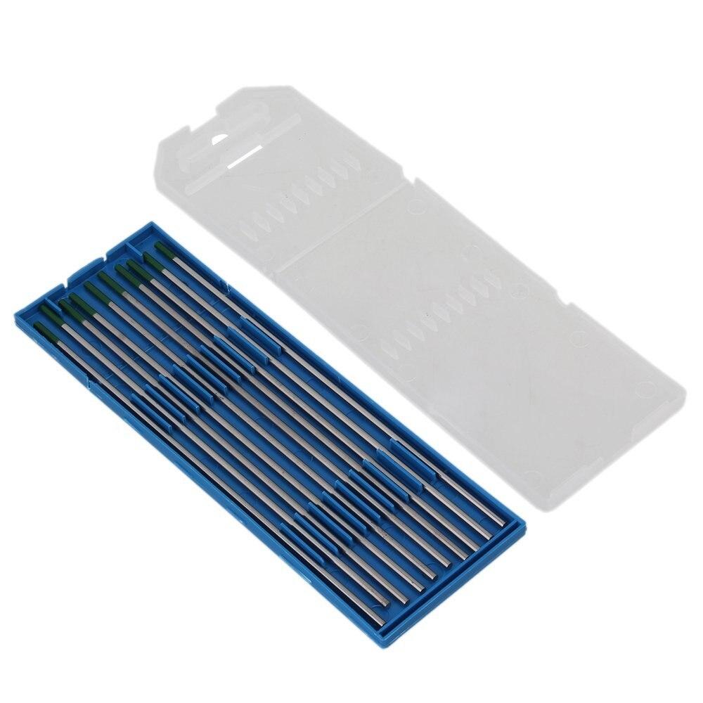 15 шт. Серебряный и зеленый конец WP Тип TIG сварка чистый вольфрамовый электрод в случае (2,4x150 мм)