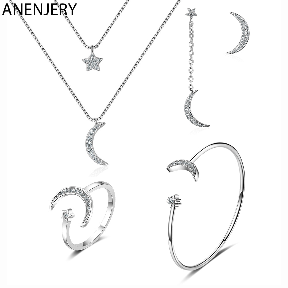 ANENJERY S925 Stamp Silver Color Jewelry Sets Zircon Moon Star Necklace+Earrings+Ring+Bracelet For Women Wedding Jewelry