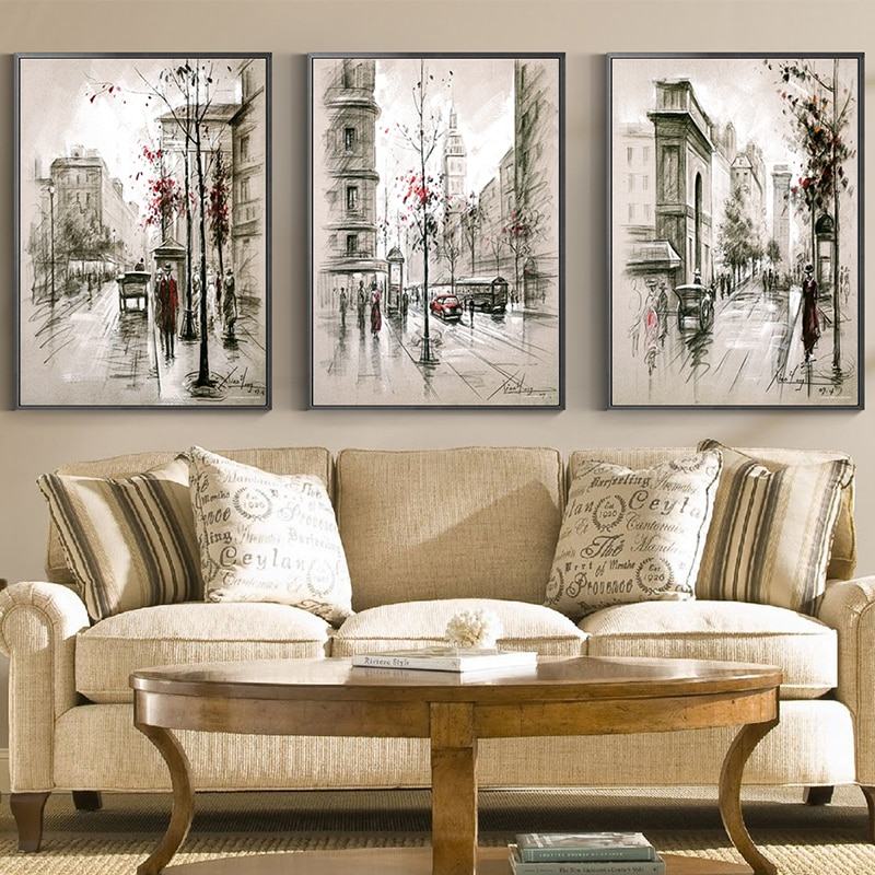 3 uds. De Pintura Abstracta con vista de la calle Nostalgia carteles n impresión decoración única arte de pared imagen para sala dormitorio Oficina