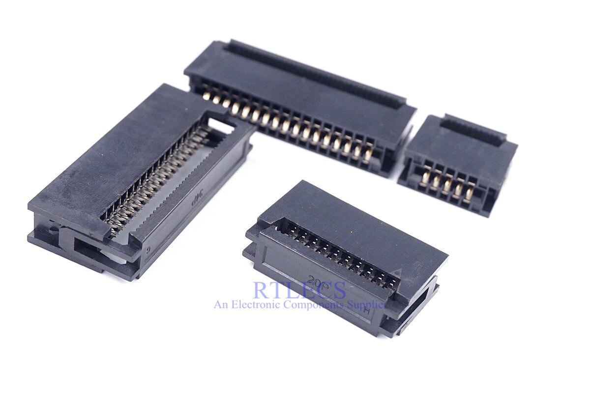 10 Pcs 10 Pin 14 16 20 24 26 30 34 40 50 60 64 Pin 2,54 pitch Karte Rand weibliche Crimp IDC Stecker für 1,27mm Flach Band Kabel