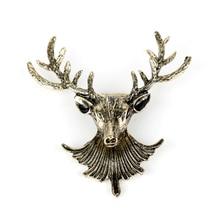 HANCHANG broche broche bijoux mignon chasse Animal cerf cerf Elk tête broches broches hommes chemise mariage cravate broche fête cadeau