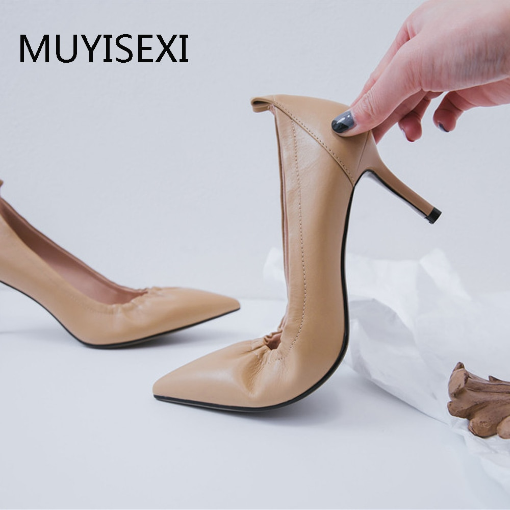 MUYISEXI-حذاء بكعب عالٍ مقاس 7 سنتيمتر للنساء ، حذاء زفاف مثير بمقدمة مدببة ، باللون الوردي ، مصنوع يدويًا ، مشمش ، بيج ، AMN01
