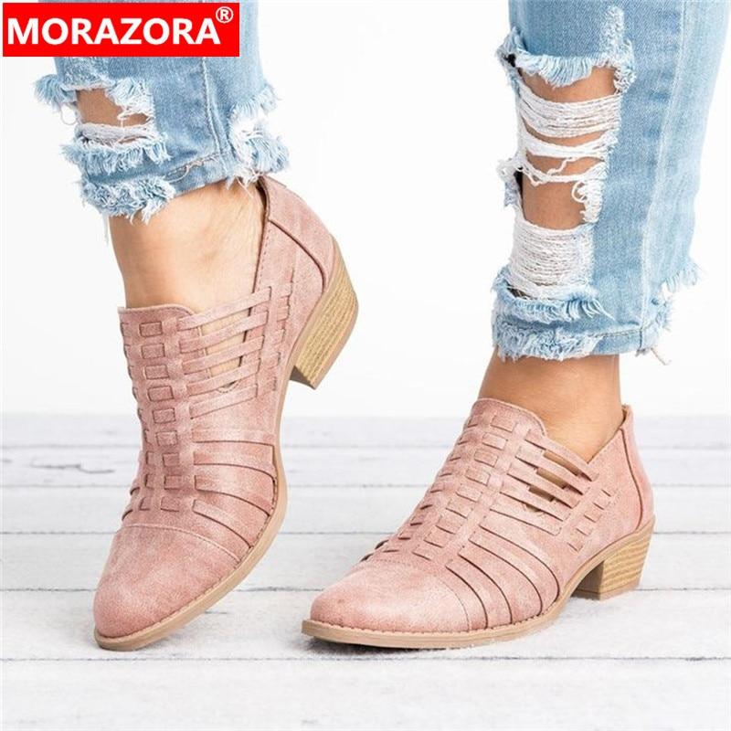 MORAZORA-حذاء نسائي بكعب عالٍ بسحاب ، حذاء نسائي غير رسمي بسحاب ، موسم الربيع والصيف ، مقاس كبير 43 ، 2020