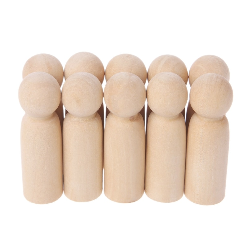 10Pcs Unfinished Wood Boy Peg Toy Natural Wooden DIY Crafts Dolls Decoration New-M14
