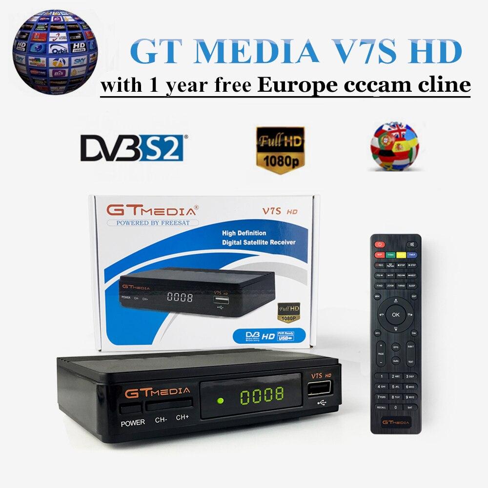 Gtv7s-Receptor satélite DVB-S2, satélite freesat V7 HD, decodificador Europa, cccam cline España por 1 año