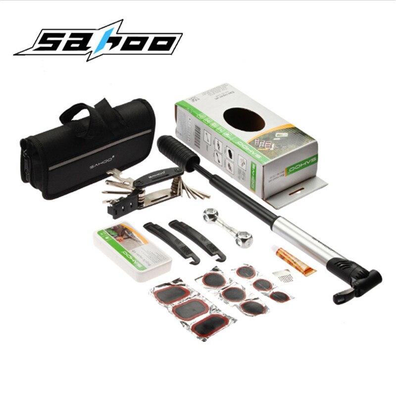 SAHOO vtt vélo vélo réparation outils Mini pompe Type Kit de réparation tournevis outil clé Portable vélo outil ensemble avec sac de transport