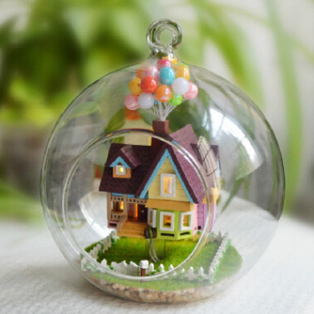 1 шт. деревянная ручная работа модель подарок игрушка Новинка DIY Дом стеклянный шар Летающая Игрушка-домик, Pixar фильм вверх модель с миниатюр...