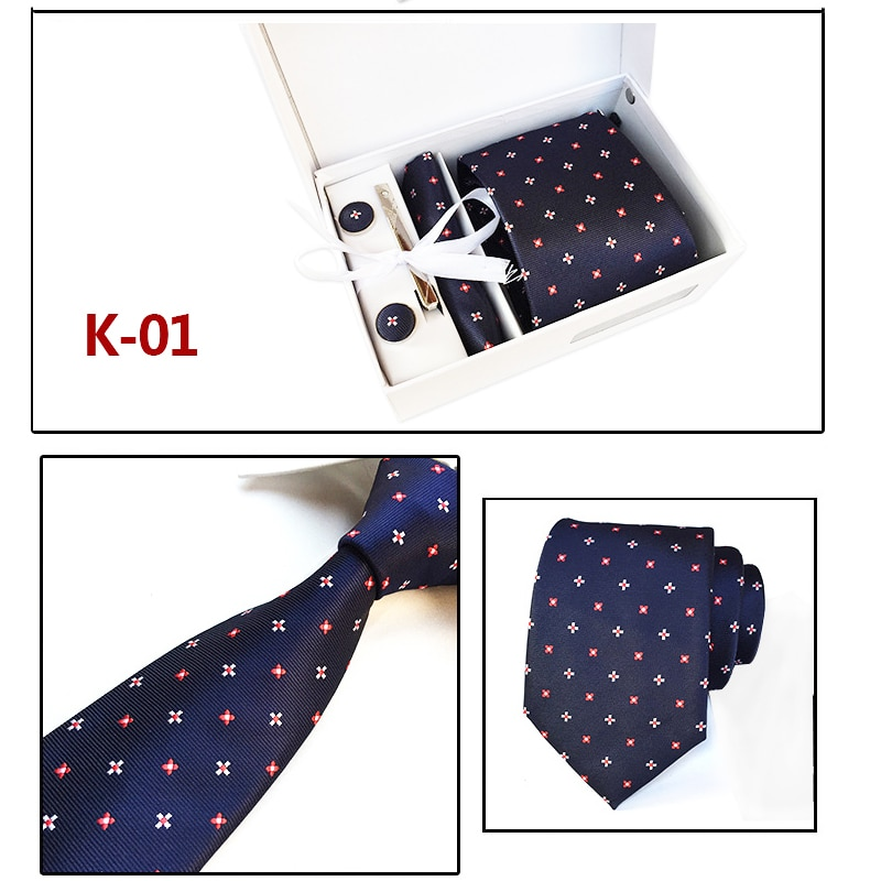 2018 Classical 8 Cm Men Polka Dots Tie Sets Polyester Neck Tie And Pocket Square And Cufflinks And Tie Bar Gift Box