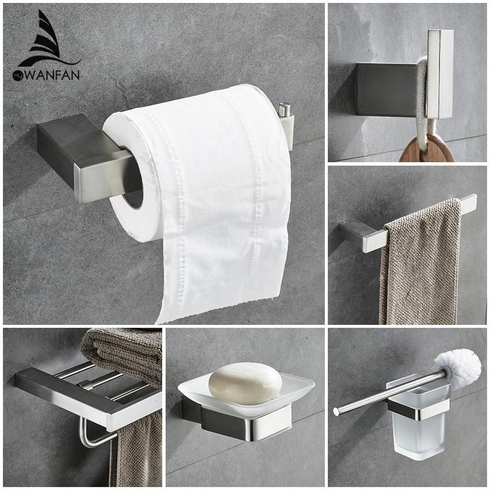 Juegos de baño de Metal, moderno anillo de toalla europeo, soporte de papel higiénico, soporte para taza, gancho para bata, accesorios de Hardware para baño 610000SN