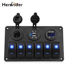 Herorider 6 Gang 24V LED Rocker Switch Panel Circuit Breaker Charger Dual USB Socket Cigaretter Plug Voltmeter Car Auto Charger