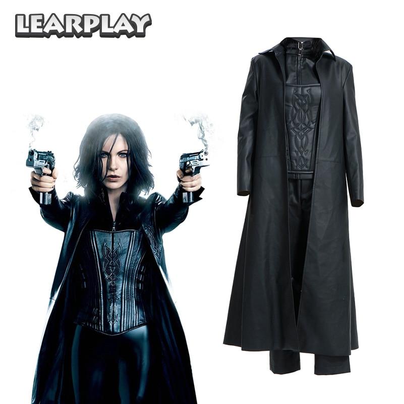 Submundo 4 despertar selene cosplay traje mulher vampiro guerreiro ternos preto trench espartilho calças conjunto completo