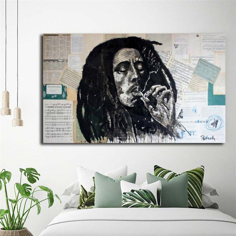 Боб Марли Регги певец курить обои искусство холст постер Картина Настенная картина Печать современная домашняя Спальня украшение работа