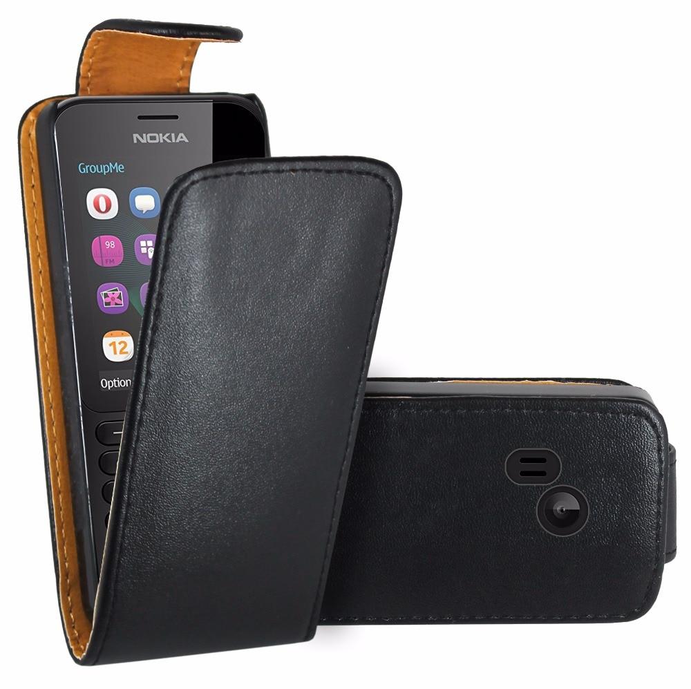 Funda abatible negra de cuero Premium para Nokia 222/Nokia 222 Dual Sim