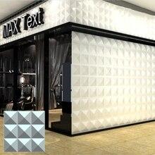 RAYUAN 4PCS Environmental  PVC 3D Wall Stickers White Wall Panel Flame-retardant Wallpaper Living Room Shop Home Decor