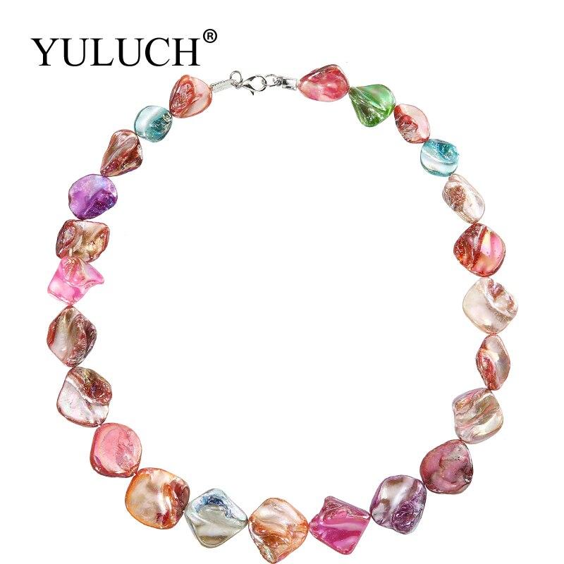 Aurora efeito na moda feminina corrente colares irregular concha oceano colorido jóias brilhando colar marca jóias venda yuluch