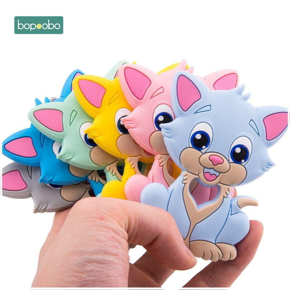 Bopoobo 1 Pza mordedor de silicona de grado alimenticio cuentas de silicona para gatos Chewable DIY chupete cadena juguetes de enfermería dentición colgante productos para bebés