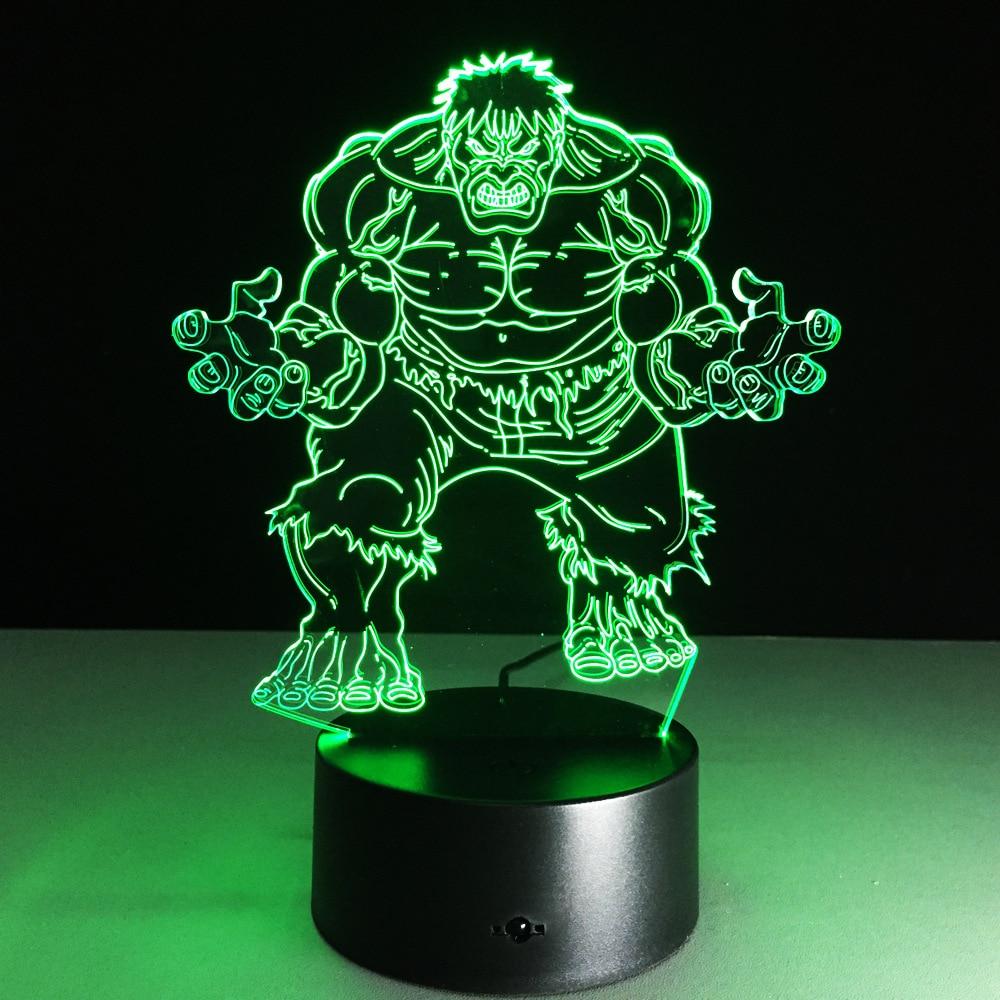 3D-126 Avengers Alliance Hulk 3D lámpara de noche creativa LED luz de noche para Bar tienda niños dormitorio decoración GX204